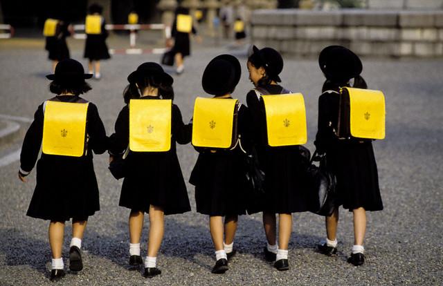 Schoolgirls Walking Together